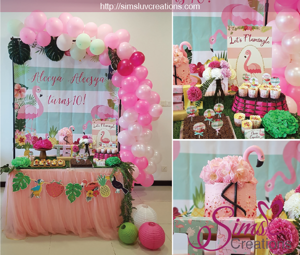 FLAMINGO PARTY BACKDROP BANNER | TROPICAL LUAU BIRTHDAY POSTER