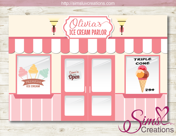ICE CREAM PARLOR PRINTABLE BACKDROP BANNER | ICE CREAM BIRTHDAY PARTY POSTER