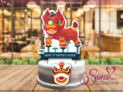 CHINESE LION DANCE THEME CAKE TOPPER | CAKE CENTERPIECE | CAKE DECORATIONS