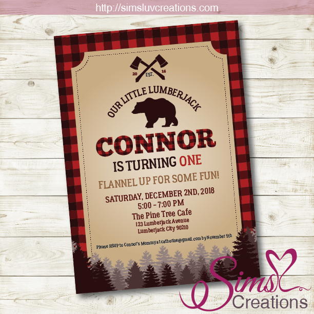 LUMBERJACK BIRTHDAY PRINTABLE INVITATION | LITTLE LUMBERJACK PARTY INVITATION