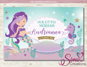 LITTLE MERMAID PARTY BACKDROP BANNER | UNDER THE SEA GIRL BIRTHDAY BACKDROP | CUSTOM PHOTO