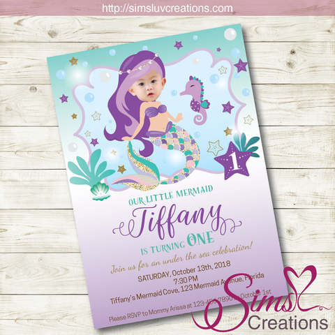 LITTLE MERMAID BIRTHDAY INVITATION | PARTY INVITATION | CUSTOM PHOTO