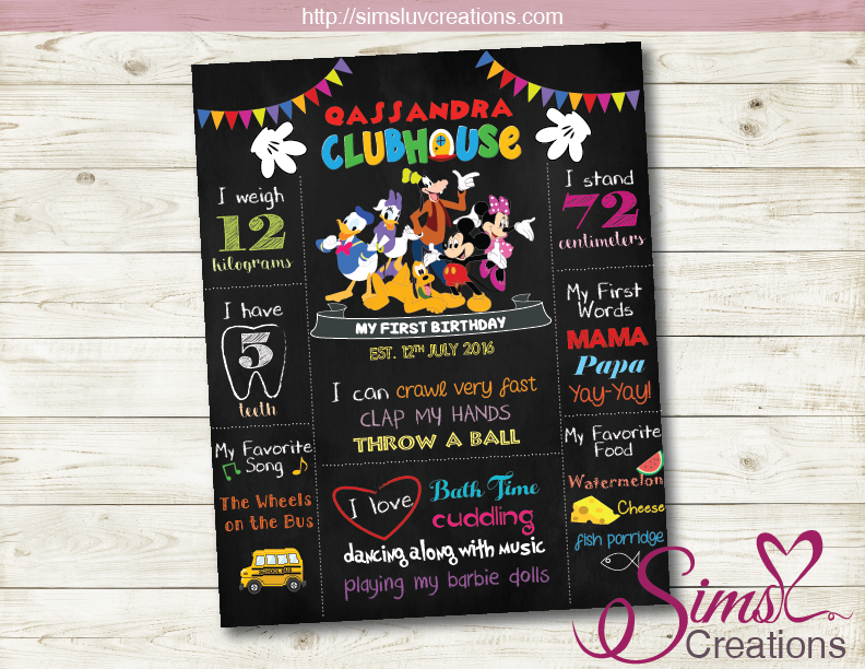 MICKEY MOUSE CLUBHOUSE MILESTONE BOARD | DISNEY MICKEY BIRTHDAY CHALKBOARD POSTER