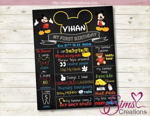 MICKEY MOUSE MILESTONE BOARD | MICKEY MOUSE BIRTHDAY CHALKBOARD POSTER