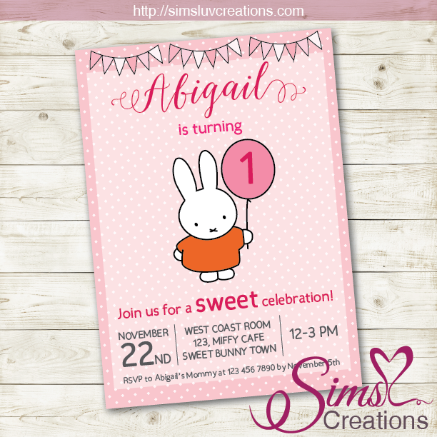 MIFFY THEME BIRTHDAY PRINTABLE INVITATION | SOME LITTLE BUNNY PARTY INVITATION