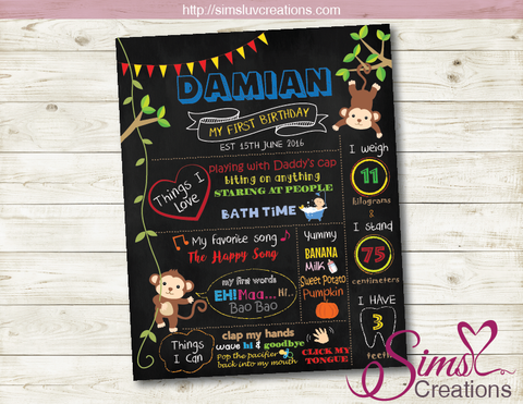MONKEY BIRTHDAY MILESTONE BOARD | JUNGLE THEME BIRTHDAY CHALKBOARD POSTER