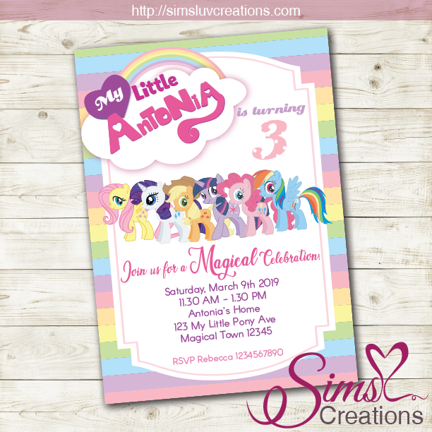 picture relating to My Little Pony Printable Invitations called MY Tiny PONY BIRTHDAY PRINTABLE INVITATION MAGICAL Occasion INVITATION