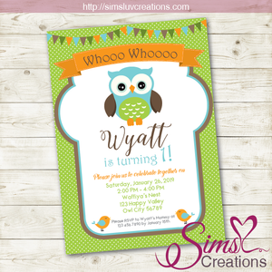 OWL BIRTHDAY PRINTABLE INVITATION | BOY WOODLANDS PARTY INVITATION
