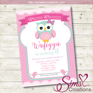 OWL BIRTHDAY PRINTABLE INVITATION | PINK WOODLANDS PARTY INVITATION