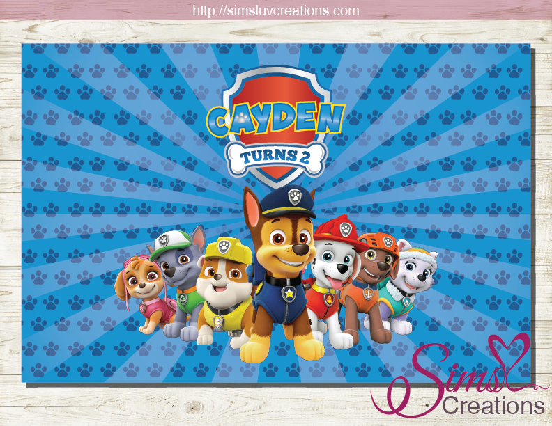 PAW PATROL BIRTHDAY PRINTABLE BACKDROP BANNER | PARTY POSTER