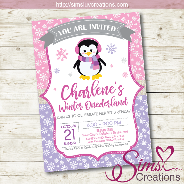 PENGUIN GIRL BIRTHDAY PRINTABLE INVITATION | WINTER WONDERLAND PARTY INVITATION