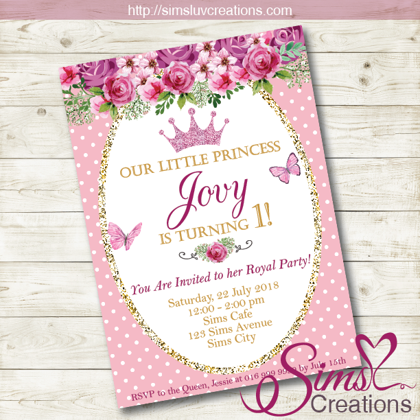 PINK FLORAL PRINCESS BIRTHDAY INVITATION | PINK GOLD PARTY INVITATION