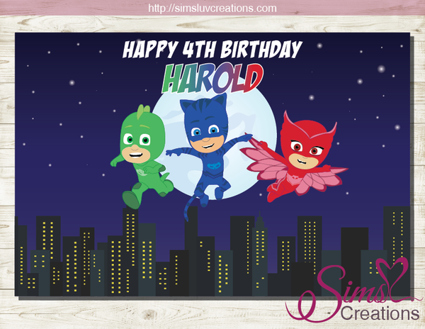 PJ MASKS PRINTABLE BACKDROP BANNER | BIRTHDAY POSTER