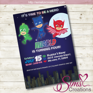 PJ MASKS BIRTHDAY PRINTABLE INVITATION | PJ MASKS PARTY INVITATION