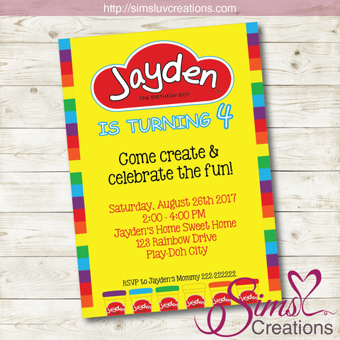 PLAYDOH BIRTHDAY PRINTABLE INVITATION | PLAY DOUGH PARTY INVITATION