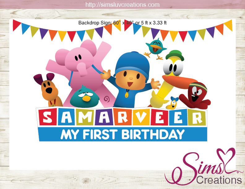 POCOYO PRINTABLE BACKDROP BANNER | CUSTOM PHOTO
