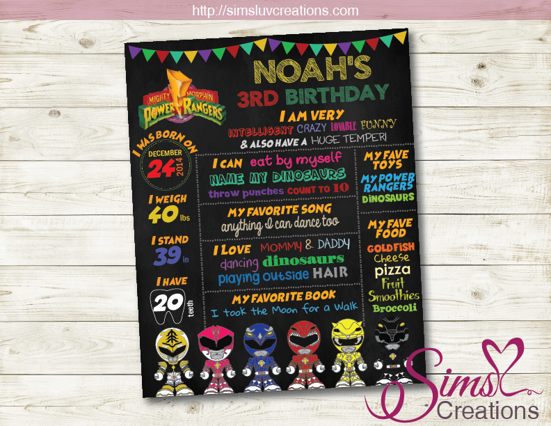 MIGHTY MORPHIN POWER RANGERS MILESTONE BOARD | POWER RANGERS BIRTHDAY CHALKBOARD POSTER