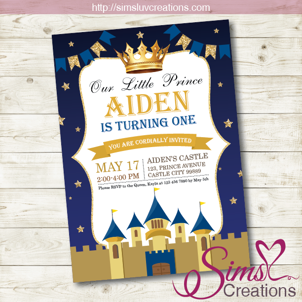 ROYAL BLUE AND GOLD LITTLE PRINCE BIRTHDAY INVITATION | PARTY INVITATION
