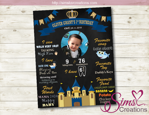 PRINCE THEME MILESTONE BOARD | ROYAL BIRTHDAY CHALKBOARD POSTER