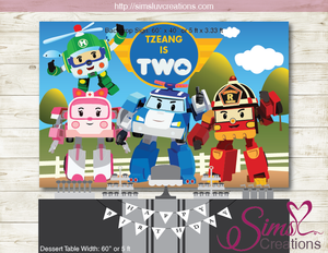 ROBOCAR POLI PRINTABLE BACKDROP BANNER | BIRTHDAY BACKDROP