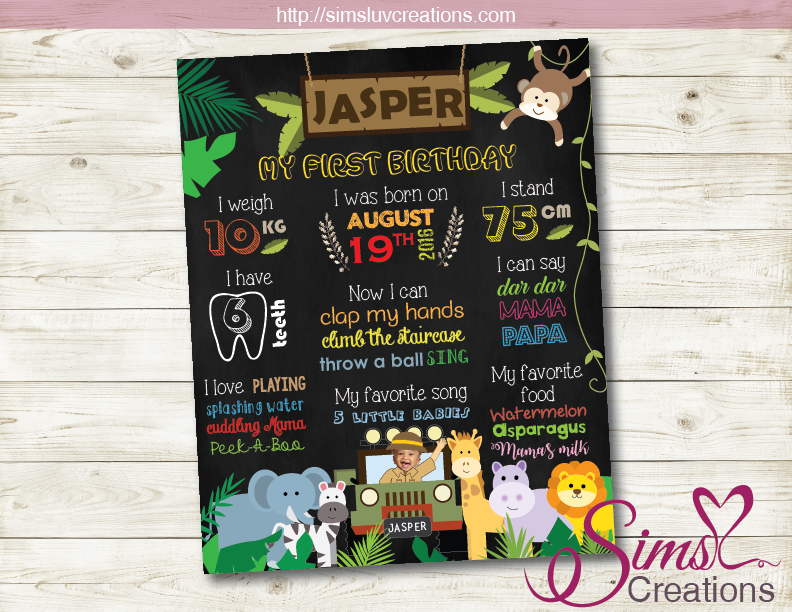 SAFARI PARTY MILESTONE BOARD | JUNGLE PARTY CHALKBOARD POSTER