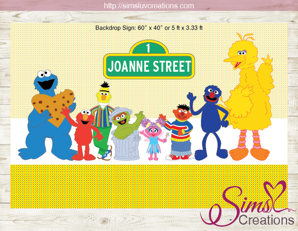 SESAME STREET BACKDROP BANNER | BIRTHDAY POSTER