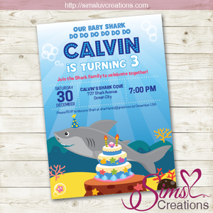 BABY SHARK BIRTHDAY PRINTABLE INVITATION | MARINE LIFE UNDER THE SEA PARTY INVITATION