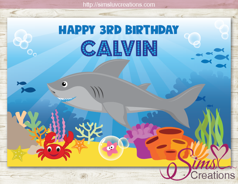 SHARK THEME PRINTABLE BACKDROP BANNER | CUSTOM PHOTO