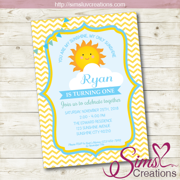 YOU ARE MY SUNSHINE BIRTHDAY PRINTABLE INVITATION | SUNSHINE BOY PARTY INVITATION
