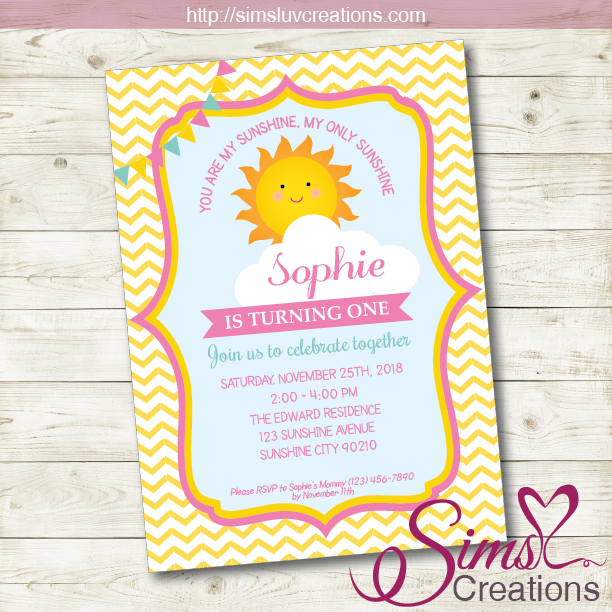 photograph about You Are My Sunshine Printable known as Yourself ARE MY Sunlight BIRTHDAY PRINTABLE INVITATION Solar Woman Social gathering INVITATION