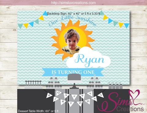 YOU ARE MY SUNSHINE PRINTABLE BACKDROP BANNER | BOY BIRTHDAY BACKDROP