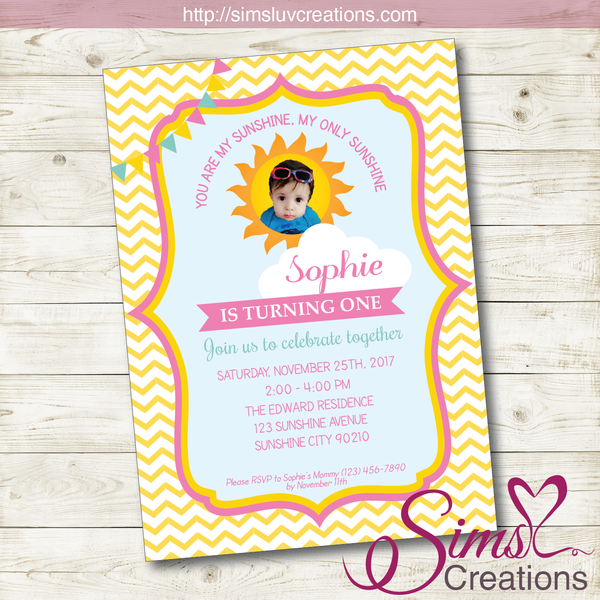 YOU ARE MY SUNSHINE BIRTHDAY PRINTABLE INVITATION | SUNSHINE GIRL PARTY INVITATION