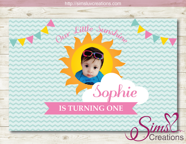 YOU ARE MY SUNSHINE PRINTABLE BACKDROP BANNER | GIRL BIRTHDAY BACKDROP