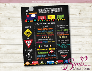 ALL ABOARD MILESTONE BOARD | TRANSPORTATION BIRTHDAY CHALKBOARD POSTER