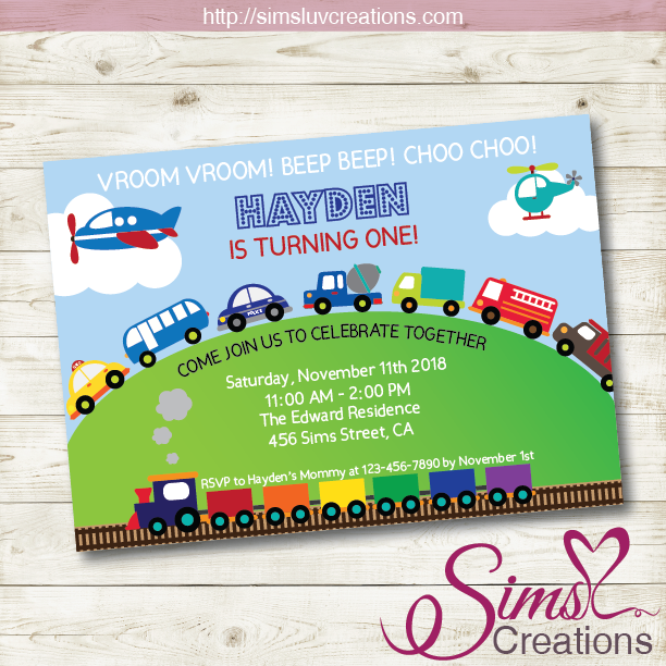 TRANSPORTATION BIRTHDAY PRINTABLE INVITATION | TRANSPORTATION PARTY INVITATION
