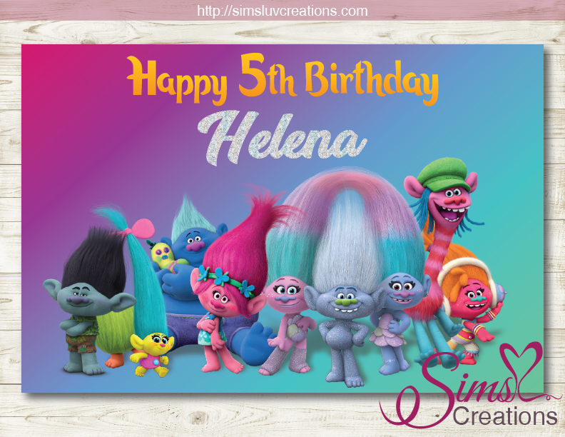 TROLLS PRINTABLE BACKDROP BANNER | BIRTHDAY BACKDROP