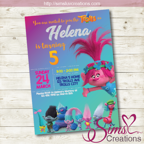TROLLS THEME BIRTHDAY PRINTABLE INVITATION | PARTY INVITATION