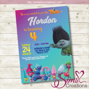 graphic regarding Trolls Printable Invitations named TROLLS Topic BIRTHDAY PRINTABLE INVITATION Celebration INVITATION