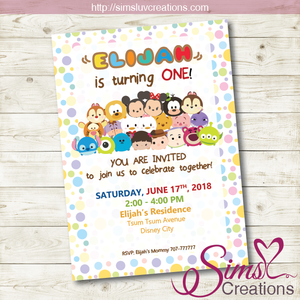 TSUM TSUM BIRTHDAY PRINTABLE INVITATION | DISNEY TSUM TSUM PARTY INVITATION