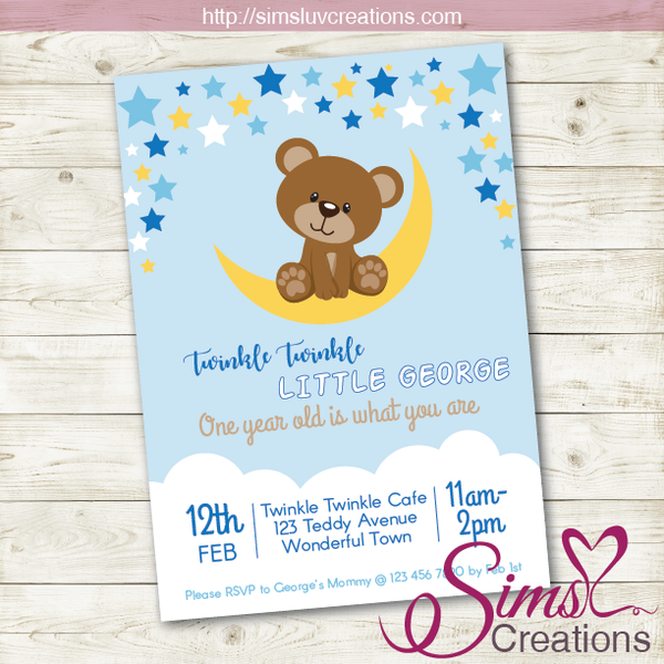 TWINKLE TWINKLE LITTLE STAR BIRTHDAY PRINTABLE INVITATION | TEDDY BEAR PARTY INVITATION