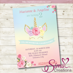 UNICORN BIRTHDAY PRINTABLE INVITATION | UNICORN PARTY INVITATION