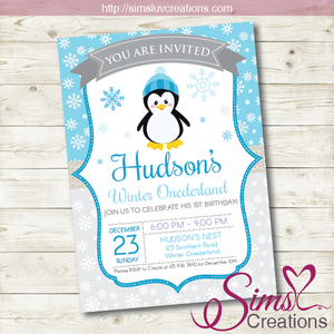 WINTER ONEDERLAND BIRTHDAY PRINTABLE INVITATION | PENGUIN PARTY INVITATION
