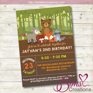 WOODLANDS BIRTHDAY PRINTABLE INVITATION | WOODLAND ANIMALS PARTY INVITATION