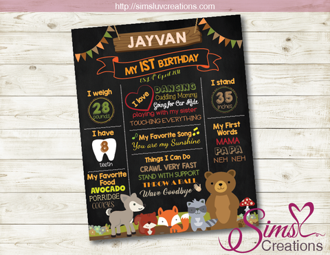 WOODLAND ANIMALS MILESTONE BOARD | WOODLANDS BIRTHDAY CHALKBOARD POSTER