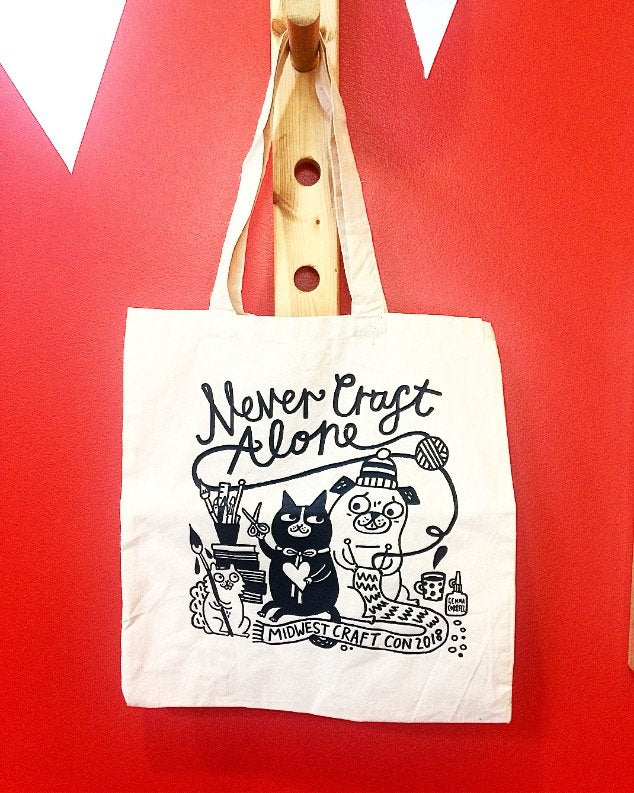 Never Craft Alone tote bag