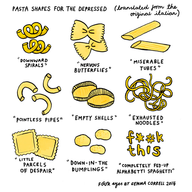 Pasta Shapes for the Depressed