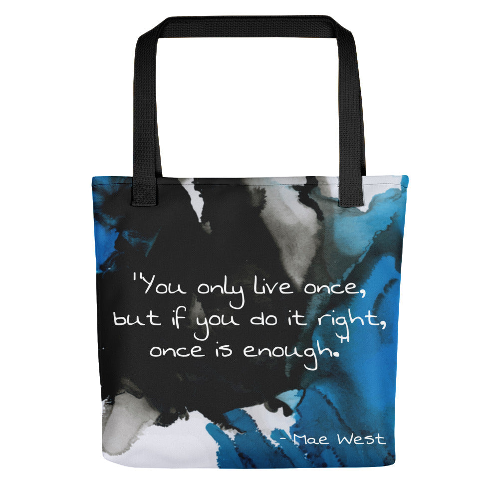 Watercolour Life Quote Tote bag
