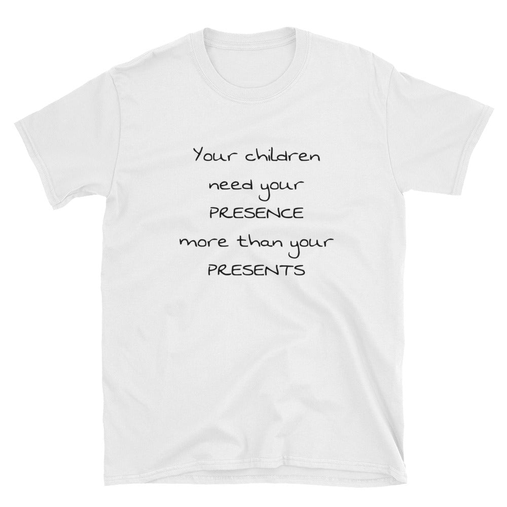 Presence instead of Presents Short-Sleeve White T-Shirt