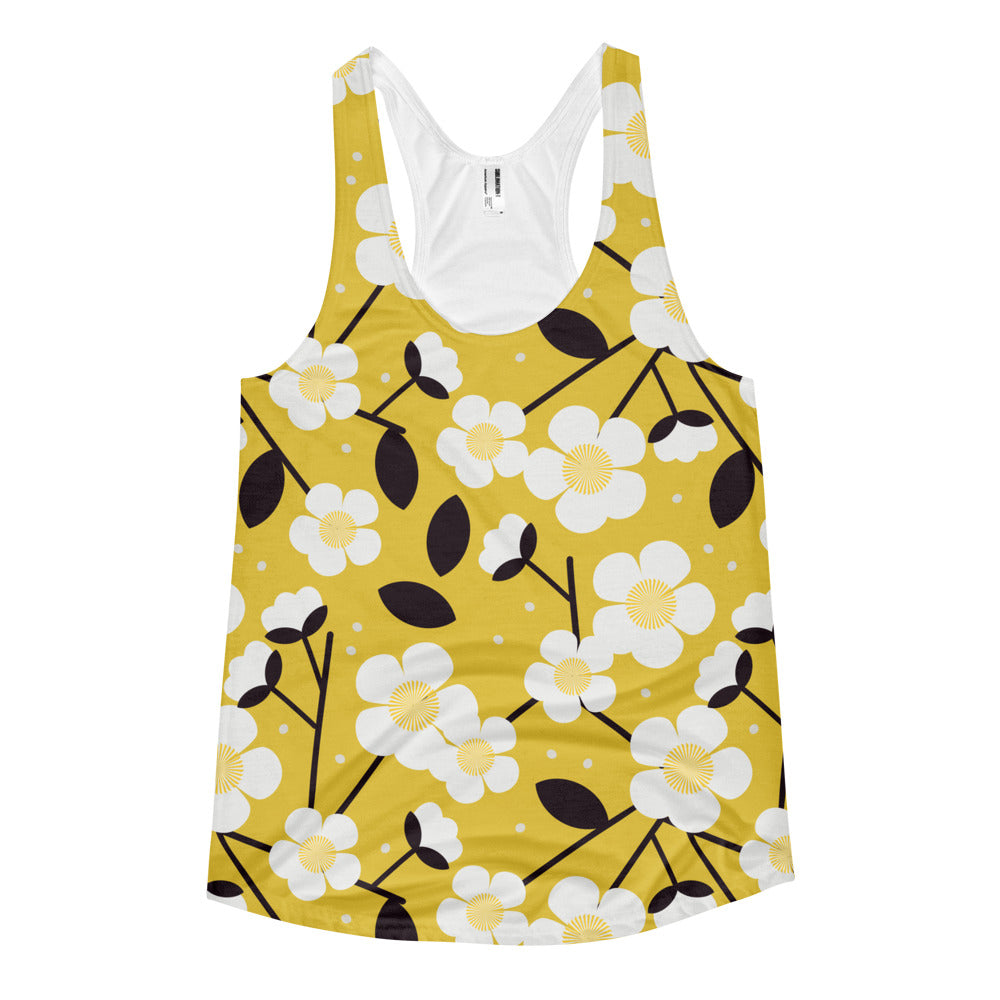 Women's Yellow Floral Tank top