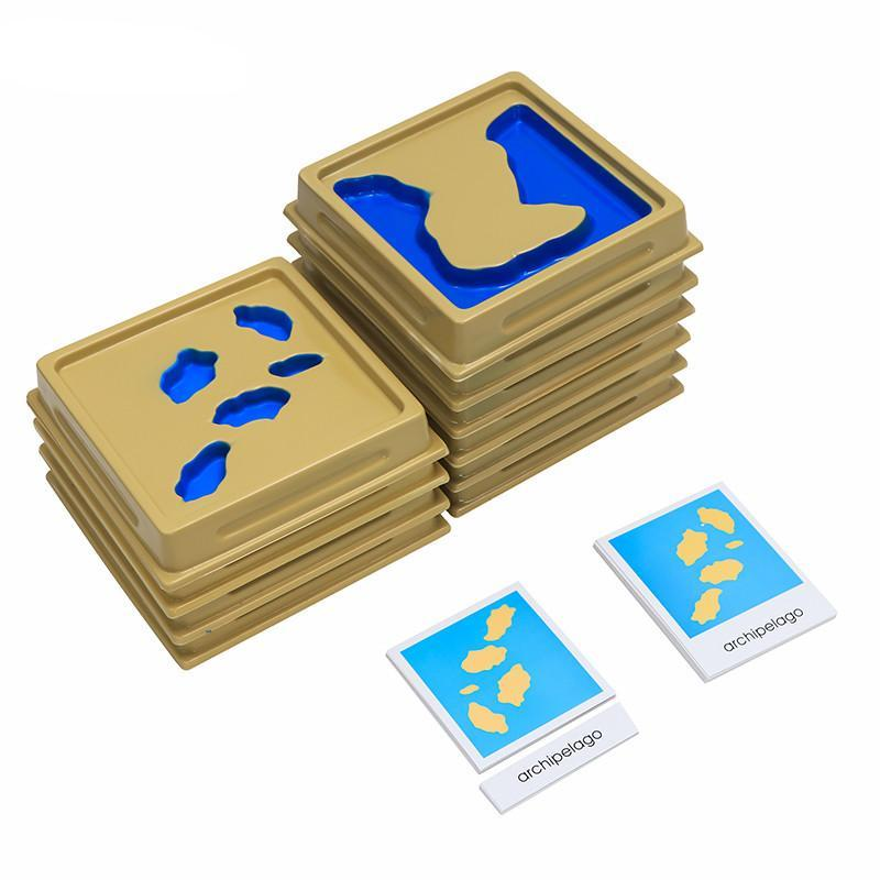Montessori Geography Mould Land And Water Form Trays Set 1 Set 2 With Cards